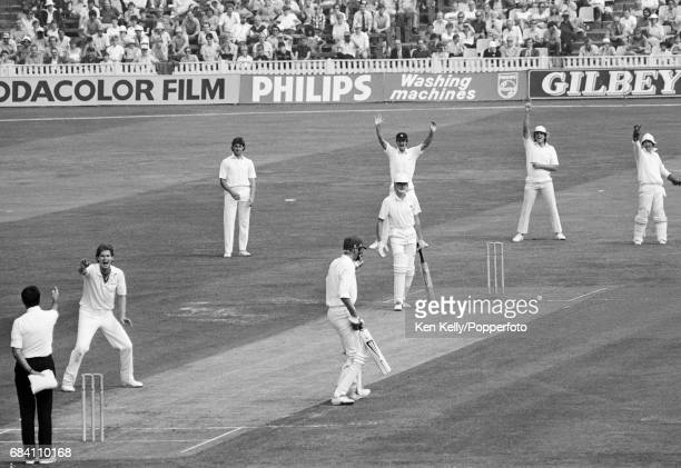 Kent bowler Terry Alderman appeals for and gets the wicket of Warwickshire batsman Paul Smith during the NatWest Trophy Semi Final between...