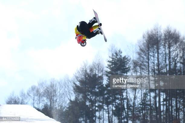 Kent Callister of Australia competes in the FIS Freestyle World Cup Snowboard Halfpipe Qualification at Bokwang Snow Park on February 17 2017 in...