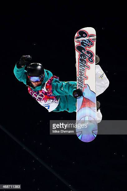 Kent Callister of Australia competes in the Snowboard Men's Halfpipe Finals on day four of the Sochi 2014 Winter Olympics at Rosa Khutor Extreme Park...