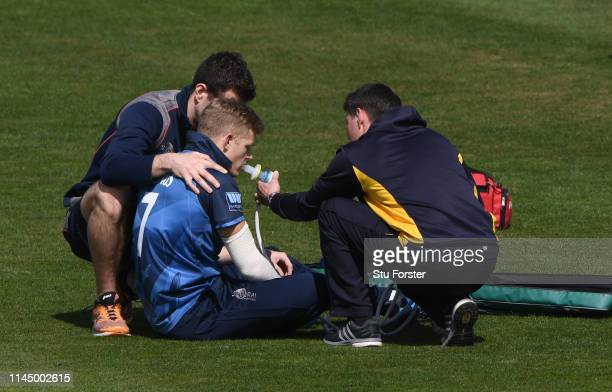 Kent captain Sam Billings receives oxygen after an injury in the field during the Royal London One Day Cup match between Glamorgan and Kent at Sophia...