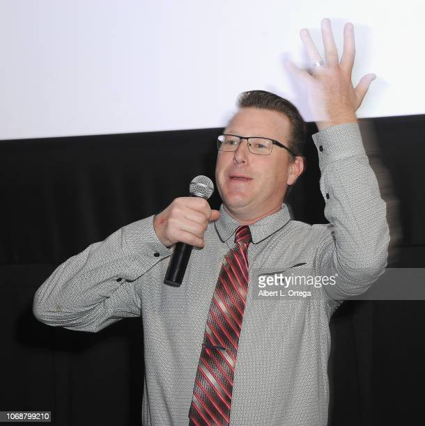 Kent Cromwell address athe audience at the Hunter Payton And The Shoe Crew Holiday Charity Fundraiser Screening of Illumination's 'The Grinch'...
