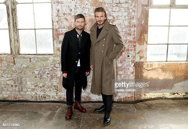 Kent Curwen Creative Director Daniel Kearns and David Beckham attend the launch of the Kent Curwen collection during London Fashion Week Men's...