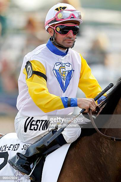 Kent Desormeaux aboard Seeking the Title is shown before the BlackEyed Susan Stakes at Pimlico Race Course on May 14 2010 in Baltimore Maryland