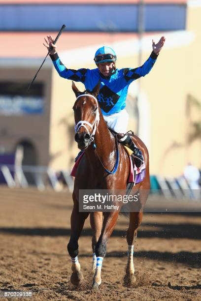Kent Desormeaux celebrates after riding Roy H to a win in the Twinspires Breeders' Cup Sprint on day two of the 2017 Breeders' Cup World Championship...