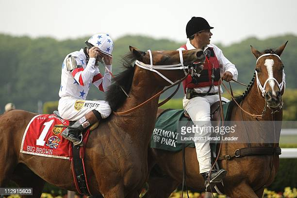 Kent Desormeaux held his head and he and Big Brown were led off the track as Da'Tara with Alan Garcia up won the 140th running of the Belmont Stakes...