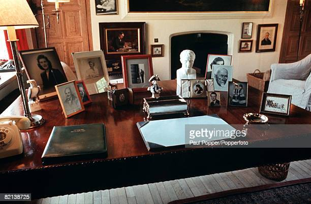 Kent England Circa 1970's The desk in the study of former British Prime Minister Winston Churchill at his Chartwell home