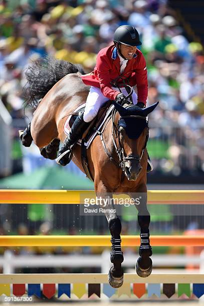 Kent Farrington of the United States rides Voyeur during the Jumping Team Round 2 during Day 12 of the Rio 2016 Olympic Games at the Olympic...