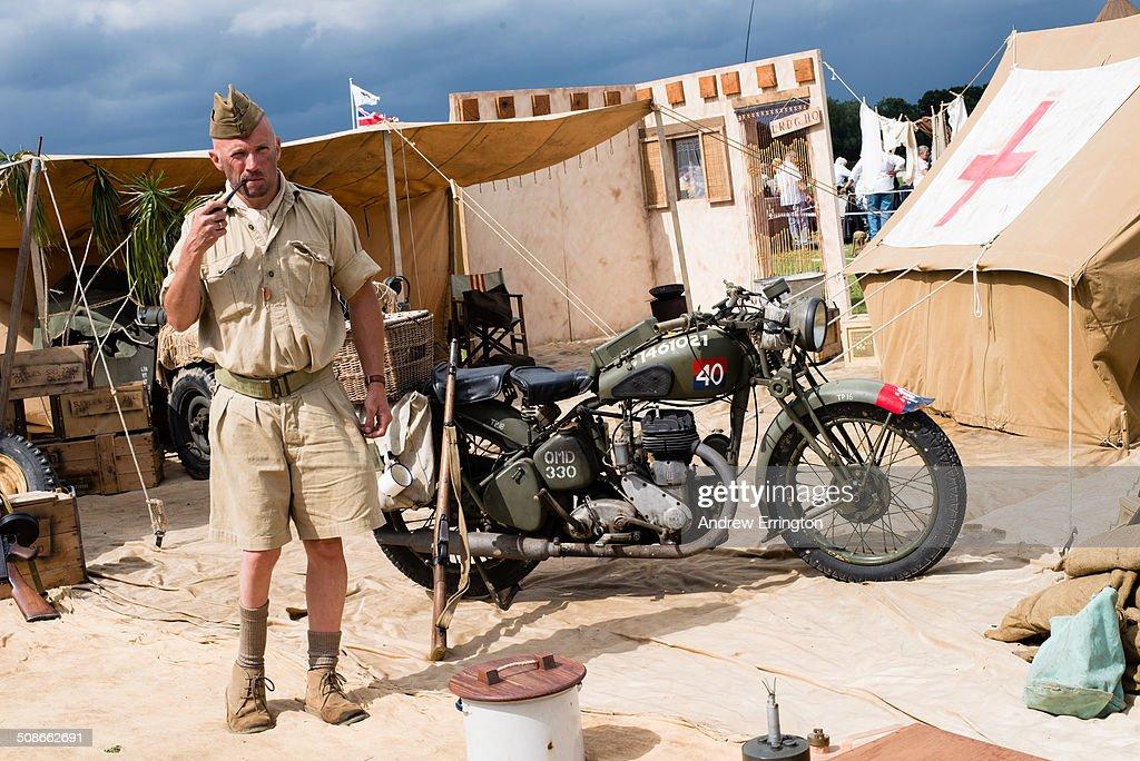 UK, Kent, Headcorn Military Airshow, man taking part in