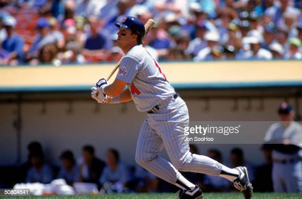 Kent Hrbek of the Minnesota Twins swings at a pitch during a 1992 season game.