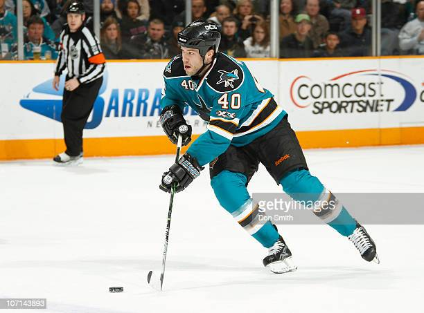 Kent Huskins of the San Jose Sharks carries the puck against the Columbus Blue Jackets during an NHL game on November 20 2010 at HP Pavilion at San...
