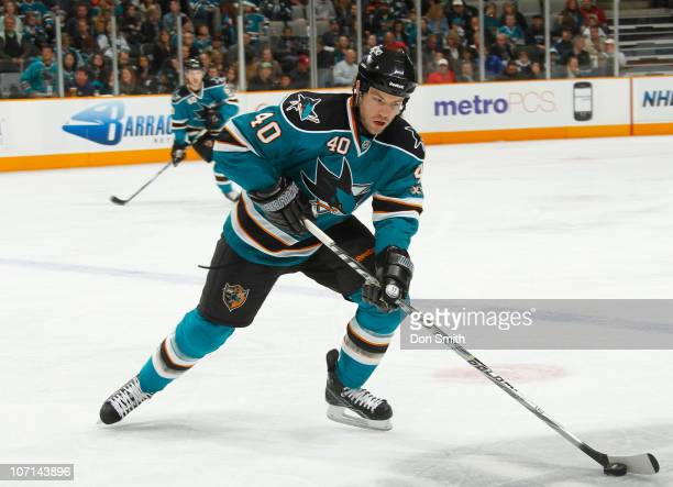 Kent Huskins of the San Jose Sharks handles the puck against the Columbus Blue Jackets during an NHL game on November 20 2010 at HP Pavilion at San...
