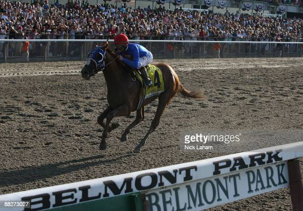 Kent J Desormeaux rides Summer Bird as he crosses the line first during the 141st Running of the Belmont Stakes at Belmont Racetrack on June 6 2009...