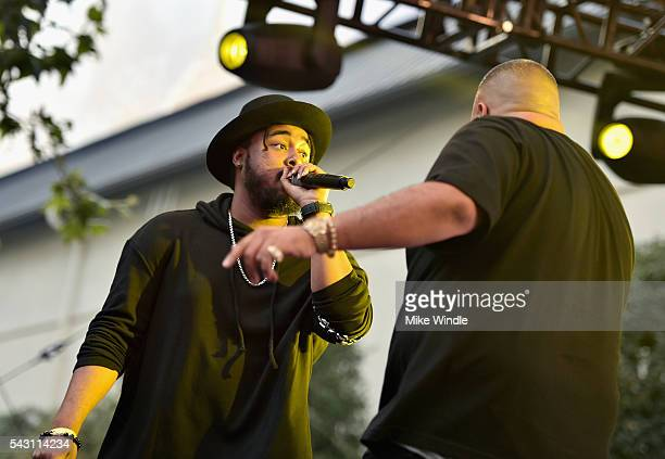 Kent Jones and DJ Khaled perform onstage at EpicFest 2016 hosted by LA Reid and Epic Records at Sony Studios on June 25 2016 in Los Angeles California