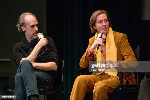 Kent Jones and Wes Anderson discuss 'Isle Of Dogs' during the New York Screening QA at The Film Society of Lincoln Center Walter Reade Theatre on...