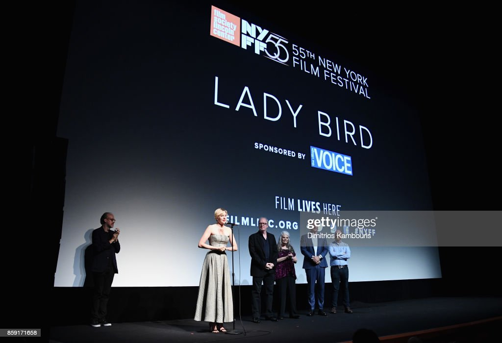 Kent Jones, Greta Gerwig, Beanie Feldstein, Tracy Letts, Lois Smith, and Sam Levy onstage during 55th New York Film Festival screening of 'Lady Bird' at Alice Tully Hall on October 8, 2017 in New York City.