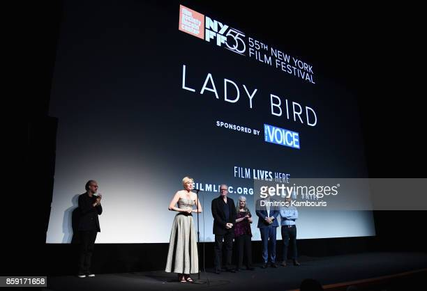 Kent Jones Greta Gerwig Beanie Feldstein Tracy Letts Lois Smith and Sam Levy onstage during 55th New York Film Festival screening of 'Lady Bird' at...