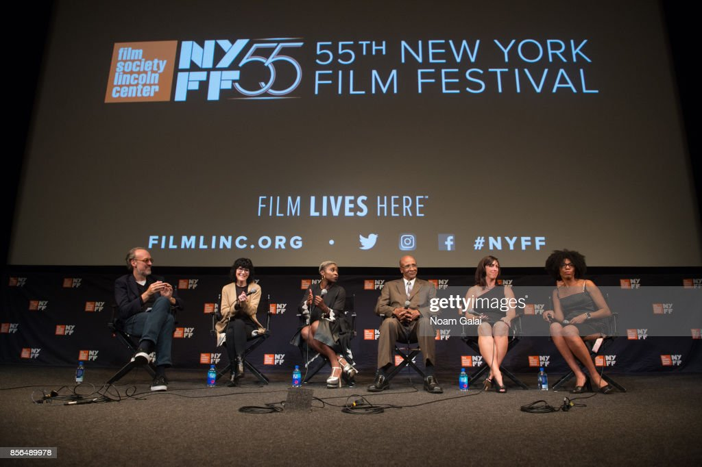 Kent Jones, Nancy Buirski, Cynthia Erivo, Robert Corbitt, Danielle McGuire and Crystal Feimster take part in a Q&A following a screening of 'The Rape Of Recy Taylor' during the 55th New York Film Festival at The Film Society of Lincoln Center, Walter Reade Theatre on October 1, 2017 in New York City.