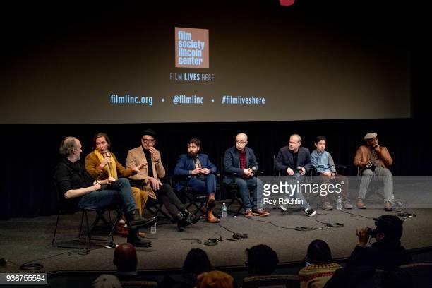 Kent Jones Wes Anderson Jeff Goldblum Jason Schwartzman Akira Ito Jeremy Dawson Koyu Rankin and Courtney B Vance discuss 'Isle Of Dogs' during the...