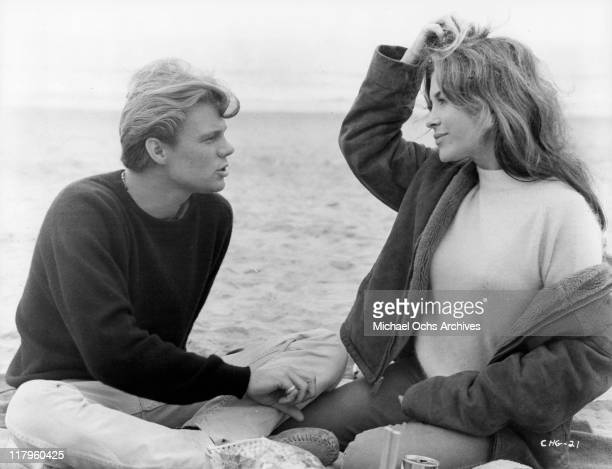 Kent Lane enjoys afternoon with Michele Carey in a scene from the film 'Changes' 1969