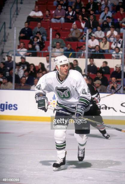 Kent Manderville of the Hartford Whalers skates on the ice during an NHL game against the Buffalo Sabres on April 7 1997 at the Hartford Civic Center...
