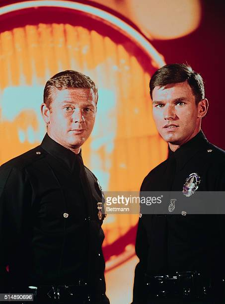 Kent McCord as Officer James A Reed and Martin Milner as Officer Peter J Malloy in the TV show Adam 12 Undated