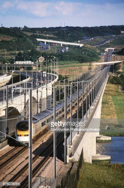 UK Kent Medway motorway and high speed CTRL crossings with Eurostar train in transit