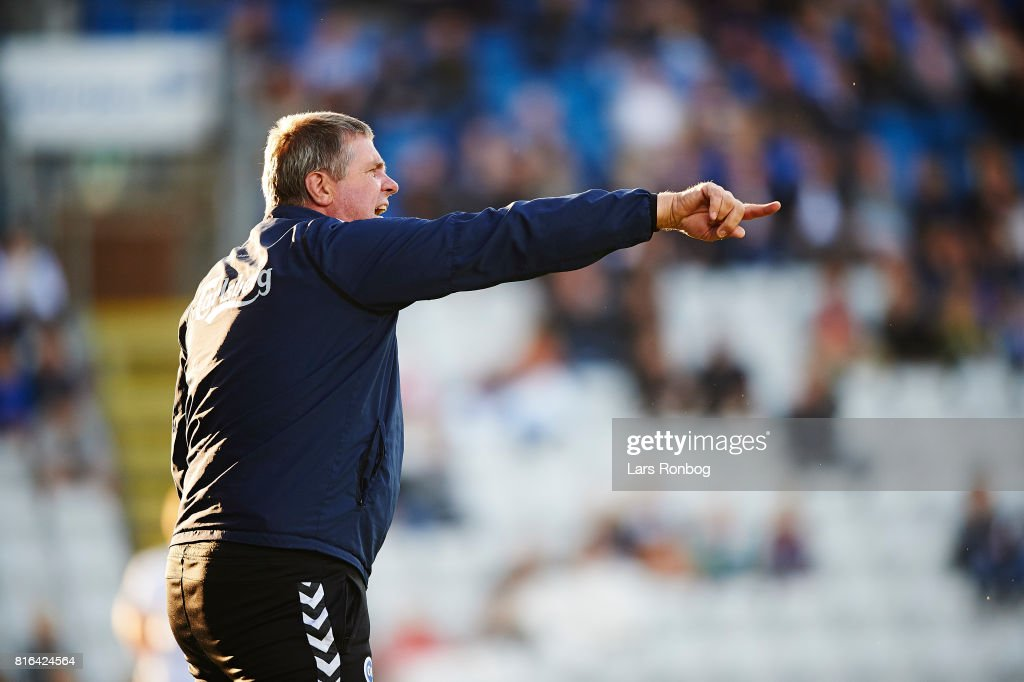 Kent Nielsen, head coach of OB Odense gestures during the Danish Alka Superliga match between OB Odense and FC Nordsjalland at EWII Park on July 17, 2017 in Odense, Denmark.