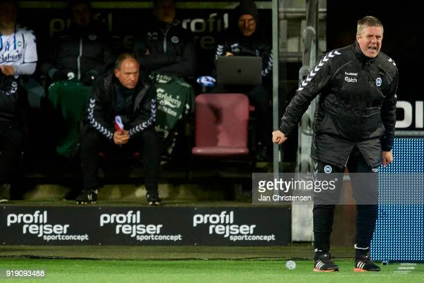 Kent Nielsen head coach of OB Odense in action during the Danish Alka Superliga match between FC Nordsjalland and OB Odense at Right to Dream Park on...