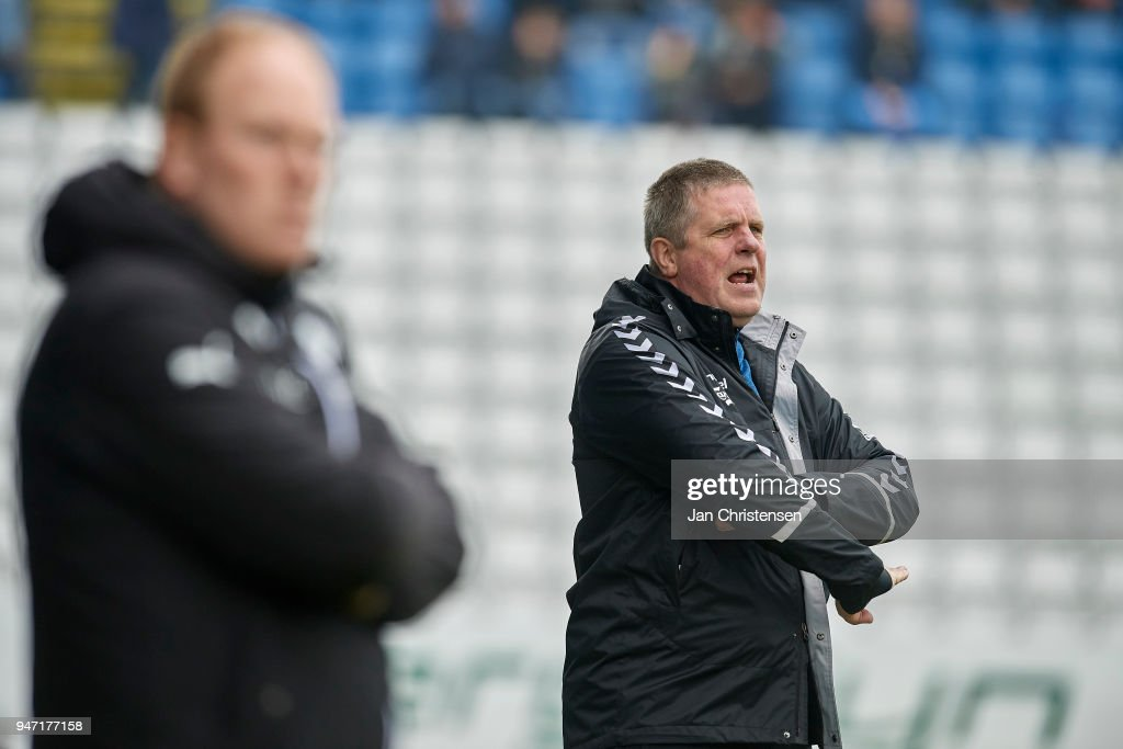 Kent Nielsen, head coach of OB Odense in action during the Danish Alka Superliga match between OB Odense and Randers FC at EWII Park on April 15, 2018 in Odense, Denmark.