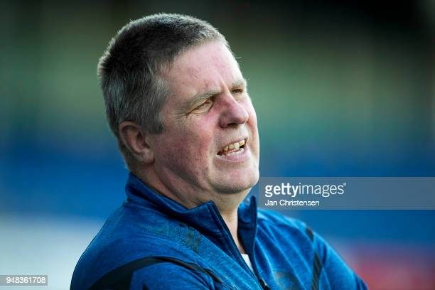 Kent Nielsen head coach of OB Odense in action during the Danish Alka Superliga match between Randers FC and OB Odense at BioNutria Park Randers on...
