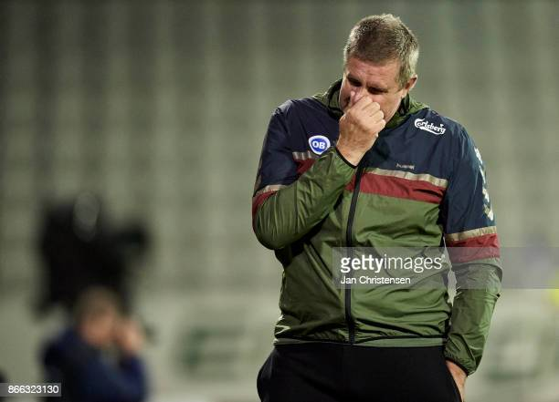 Kent Nielsen head coach of OB Odense looks dejected after the Danish Cup DBU Pokalen match between OB Odense and FC Midtjylland at TREFOR Park on...