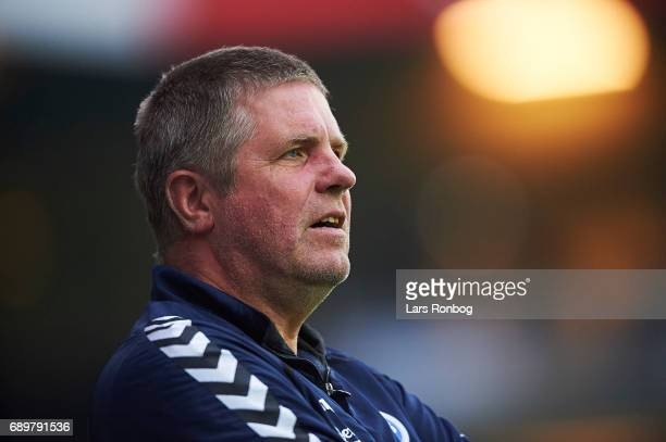 Kent Nielsen head coach of OB Odense looks on during the Danish Alka Superliga match between Randers FC and OB Odense at BioNutria Park on May 29...