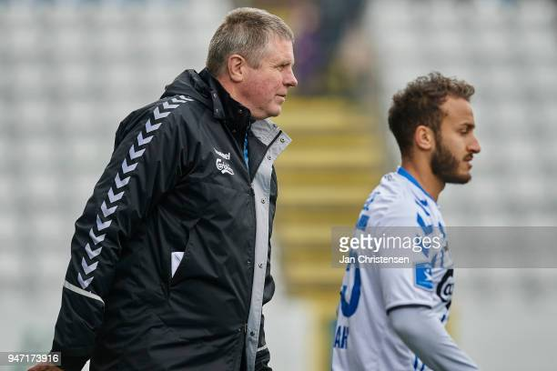 Kent Nielsen head coach of OB Odense looks on during the Danish Alka Superliga match between OB Odense and Randers FC at EWII Park on April 15 2018...