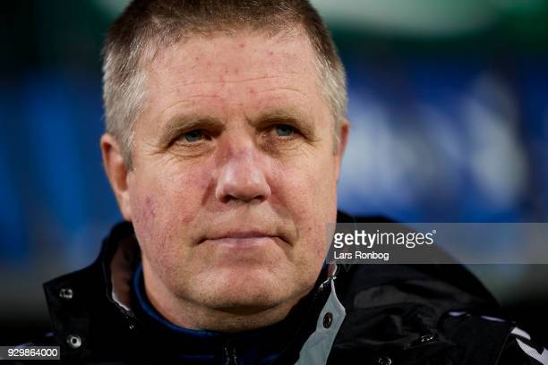 Kent Nielsen head coach of OB Odense looks on prior to the Danish Alka Superliga match between OB Odense and AGF Aarhus at EWII Park on March 9 2018...
