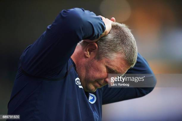 Kent Nielsen head coach of OB Odense shows frustration during the Danish Alka Superliga match between Randers FC and OB Odense at BioNutria Park on...