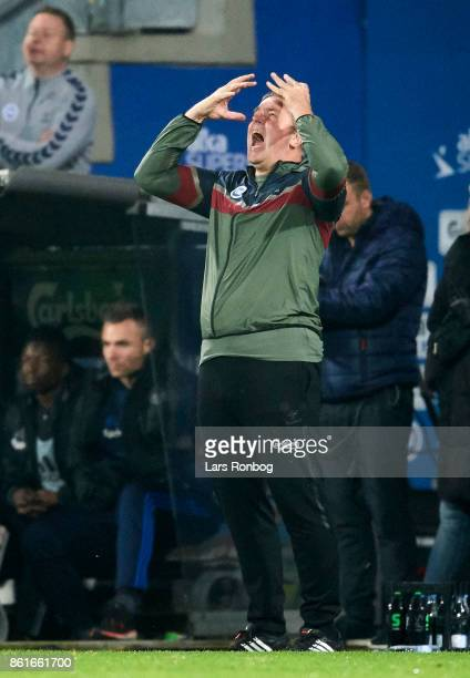 Kent Nielsen head coach of OB Odense shows frustration during the Danish Alka Superliga match between OB Odense and FC Copenhagen at EWII Park on...