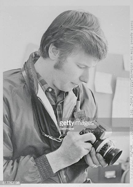 John P Filo of Natrons Heights Pa and a student at Kent State glances at camera after learning he has won Pulitzer Prize for his photographs made...