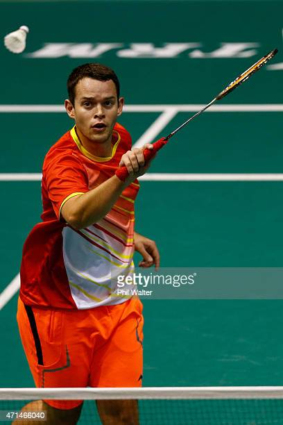 Kent Palmer of New Zealand plays a return to Pit Seng Low of Australia during their mens singles match in the 2015 Badminton Open at the North Shore...