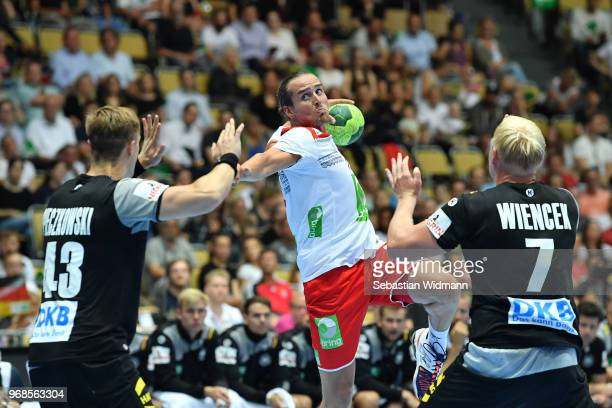 Kent Robin Toennesen of Norway throws the ball during the handball International friendly between Germany and Norway at Olympiahalle on June 6 2018...
