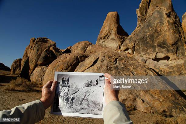 Kent Sperring matches a canon emplacement and camera platform in a still photograph from the longlost 1936 John Wayne movie The Oregon Trail shot in...