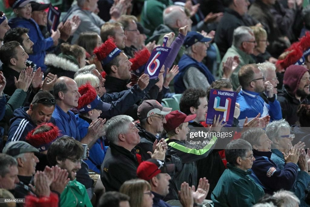 Kent Spitfires fans celebrate a six during the NatWest T20 Blast South Group match between Kent Spitfires and Surrey at The Spitfire Ground on August 18, 2017 in Canterbury, England. (Photo by Sarah Ansell/Getty Images).