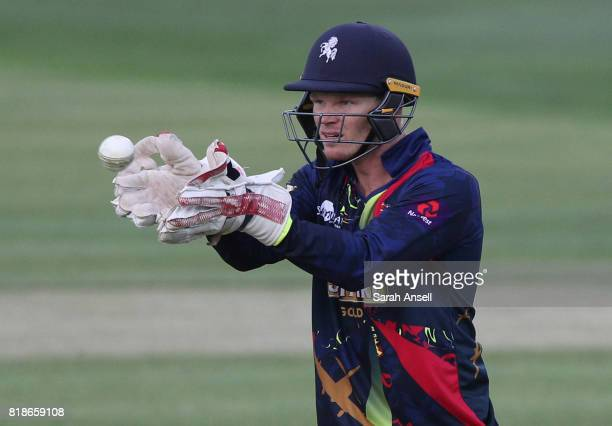 Kent Spitfires wicket keeper Sam Billings gathers the ball during the NatWest T20 Blast South Group match at The Spitfire Ground on July 18 2017 in...