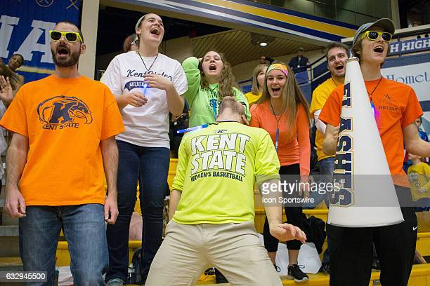 Kent State fans celebrate during the second half of the college men's basketball game between the Central Michigan Chippewas and Kent State Golden...