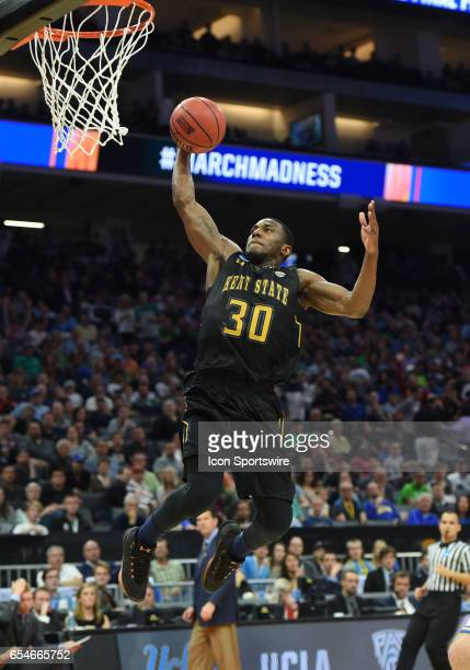 Kent State Flashes Deon Edwin goes up for a slam dunk during the first half of the UCLA Bruins game versus the Kent State Flashes in their NCAA...