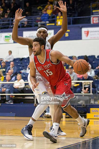 Kent State Golden Flashes C Adonis De La Rosa is called for a foul against Ball State Cardinals F Franko House during the second half of the NCAA...