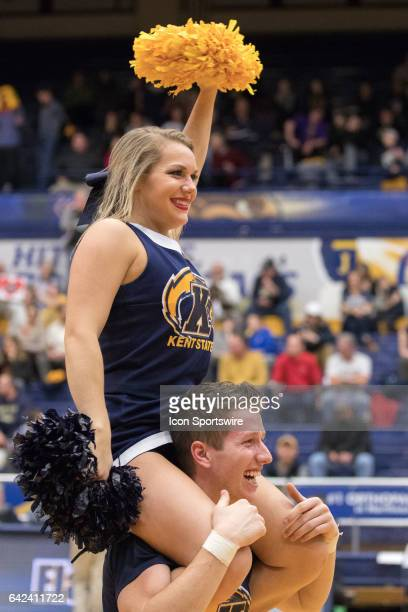Kent State Golden Flashes cheerleaders during the second half of the men's college basketball game between the Miami RedHawks and Kent State Golden...