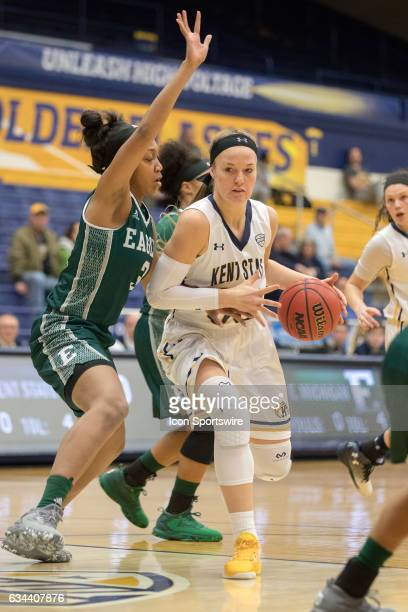 Kent State Golden Flashes F Jordan Korinek is defended by Eastern Michigan Eagles F Tori Easley during the first quarter of the women's college...