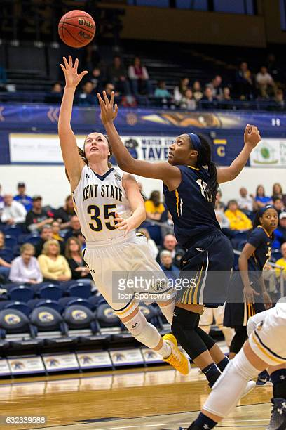Kent State Golden Flashes F Jordan Korinek shoots against Toledo Rockets C Kaayla McIntyre during the third quarter of the NCAA Women's Basketball...