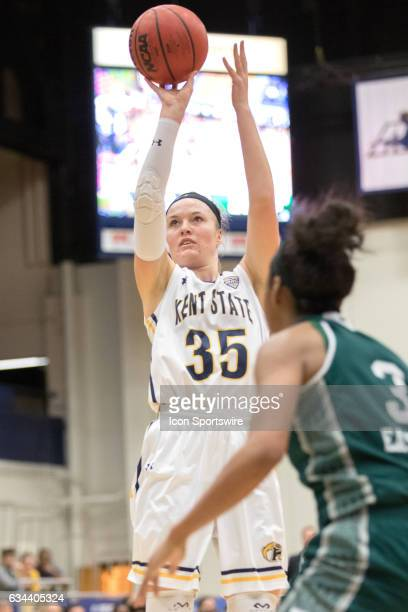 Kent State Golden Flashes F Jordan Korinek shoots during the second quarter of the women's college basketball game between the Eastern Michigan...