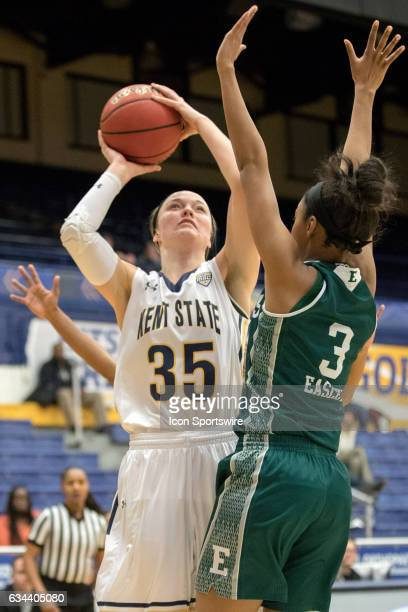 Kent State Golden Flashes F Jordan Korinek shoots over Eastern Michigan Eagles F Tori Easley during the second quarter of the women's college...